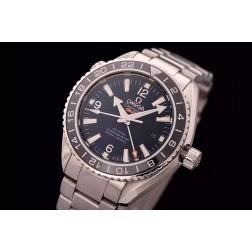 Replica Omega Seamaster Planet Ocean Co-Axial GMT Black Dial Ceramic Bezel 43.5mm SS Case OS103