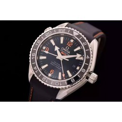 Replica Omega Seamaster Planet Ocean Co-Axial GMT Black Dial Ceramic Bezel Rubber Strap 43.5mm OS104