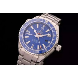 Replica Omega Seamaster Planet Ocean Co-Axial GMT Blue Dial Ceramic Bezel 43.5mm SS Case OS105