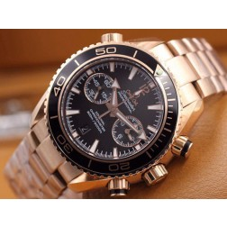 Replica Omega Seamaster Professional Chronograph Watch Rose Gold Case Black Dial Ceramic Bezel 45mm OS111