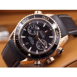 Replica Omega Seamaster Professional Chronograph Watch Rose Gold Case Black Dial Leather Strap 45mm OS112