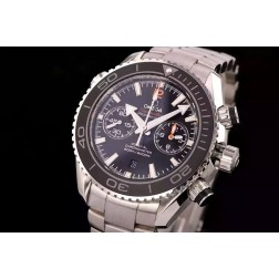 Replica Omega Planet Ocean Chronograph Watch SS Case Black Dial Ceramic Bezel 45.5mm OS113
