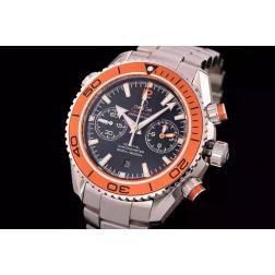 Replica Omega Planet Ocean Chronograph Watch SS Case Black Dial Orange Ceramic Bezel 45.5mm OS114