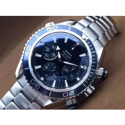 Replica Omega Seamaster Planet Ocean Chronograph Watch SS Case Blue Dial Ceramic Bezel 45mm OS115