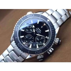 Replica Omega Seamaster Planet Ocean Chronograph Watch SS Case Black Dial Ceramic Bezel 45mm OS116