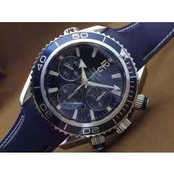 Replica Omega Seamaster Planet Ocean Chronograph Watch SS Case Rubber Strap Blue Dial Ceramic Bezel 45mm OS117