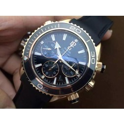 Replica Omega Seamaster Planet Ocean Chronograph Watch Rose Gold Case Rubber Strap Ceramic Bezel 45mm OS118