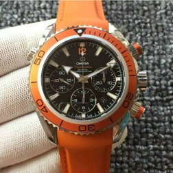 Swiss Made Replica Omega Seamaster CO-AXIAL Chronograph Orange Bezel Rubber Strap OS126