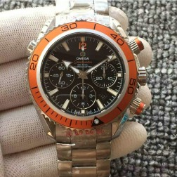 Swiss Made Replica Omega Seamaster CO-AXIAL Chronograph Orange Bezel Black Dial OS127
