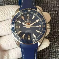 Exact Copy Omega Planet Ocean GMT GoodPlanet Blue Dial Ceramic Bezel Rubber Strap OS128