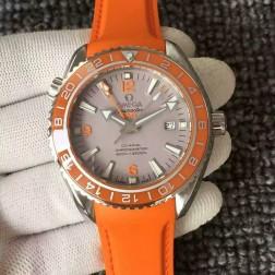 Exact Copy Omega Planet Ocean GMT GoodPlanet Grey Dial Orange Ceramic Bezel with Orange Strap OS130