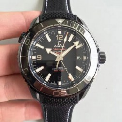High Quality Omega Planet Ocean GMT Deep Black PVD Case 45.5mm Black Ceramic Bezel Nylon Strap OS138