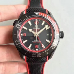 High Quality Omega Planet Ocean GMT Deep Black PVD Case 45.5mm Black with Red Bezel Nylon Strap OS139