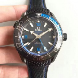 High Quality Omega Planet Ocean GMT Deep Black PVD Case 45.5mm Black with Blue Bezel Nylon Strap OS140