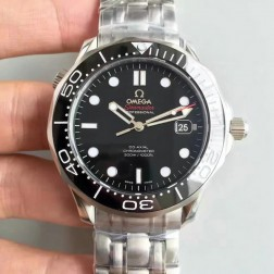 1:1 Exact Copy Omega Seamaster Watch Swiss Made Black Dial with White Markers Ceramic Bezel OS145