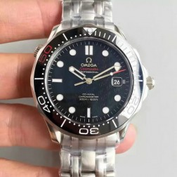 1:1 Exact Copy Omega Seamaster Watch Swiss Made 007 Black Dial with White Markers Ceramic Bezel  OS147