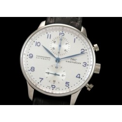 Replica IWC Portuguese Chronograph Men Watch White Dial Black Leather Strap Swiss Movement SIW004