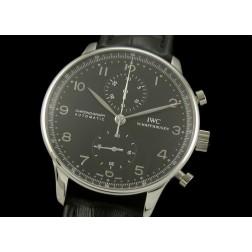 Replica IWC Portuguese Chronograph Men Watch Black Dial Black Leather Strap Swiss Movement SIW005