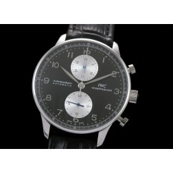 Replica IWC Portuguese Chronograph Men Watch Black Dial White Sub Dial Swiss Movement SIW006