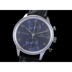 Replica IWC Portuguese Chronograph Men Watch Blue Dial Leather Strap Swiss Movement SIW007