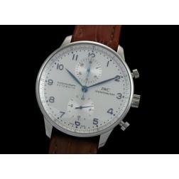 Replica IWC Portuguese Chronograph Men Watch White Dial Leather Strap Swiss Movement SIW008