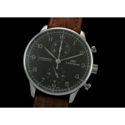 Replica IWC Portuguese Chronograph Men Watch Black Dial Brown Strap Swiss Movement SIW009