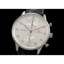 Replica IWC Portuguese Chronograph Men Watch White Dial Black Strap Swiss Movement SIW010