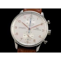 Replica IWC Portuguese Chronograph Men Watch White Dial Brown Strap Swiss Movement SIW011