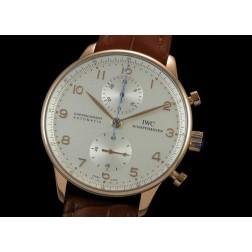Replica IWC Portuguese Chronograph Men Watch Rose Gold Case Brown Strap Swiss Movement SIW013