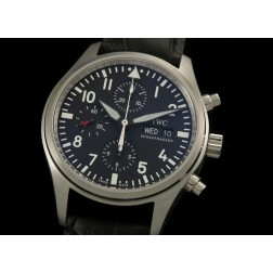 Replica IWC Pilot Chronograph Men Watch Black Dial 42mm Black Leather Strap Swiss Movement SIW014