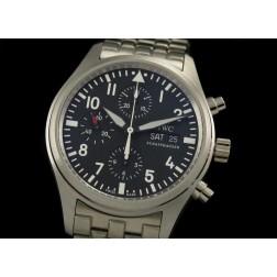 Replica IWC Pilot Chronograph Men Watch Black Dial Stainless Steel Case 42mm Swiss Movement SIW015