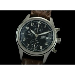 Replica IWC Spitfire Chronograph Men Watch Black Dial Brown Strap 42mm Swiss Movement SIW016