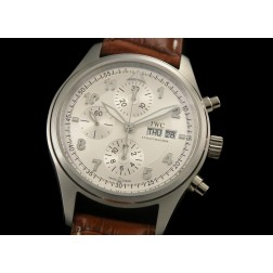 Replica IWC Spitfire Chronograph Men Watch White Dial Brown Leather Strap Swiss Movement SIW017