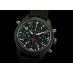 Replica IWC Top Gun Chronograph Watch Black Ceramic Case Black Nylon Strap Swiss Movement SIW018