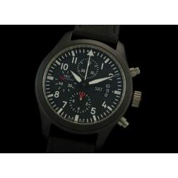 Replica IWC Top Gun Chronograph Watch Black Ceramic Case Black Dial 44mm Swiss Movement SIW019