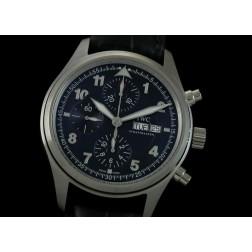 Replica IWC Laureus Sports Chronograph Watch Blue Dial Black Leather Strap Swiss Movement SIW020