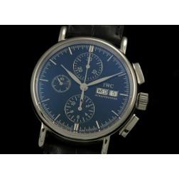 Replica IWC Portofino Chronograph Watch Black Dial Black Leather Strap Swiss Movement SIW021