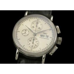 Replica IWC Portofino Chronograph Watch White Dial Black Leather Strap Swiss Movement SIW022