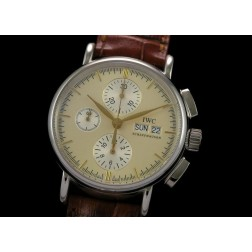 Replica IWC Portofino Chronograph Watch Cream Dial Brown Leather Strap Swiss Movement SIW023