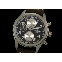 Replica IWC Pilot Chronograph Watch Brown Dial 42mm Black Leather Strap Swiss Movement SIW026