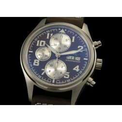Replica IWC Pilot Chronograph Watch Brown Dial 42mm Brown Leather Strap Swiss Movement SIW027