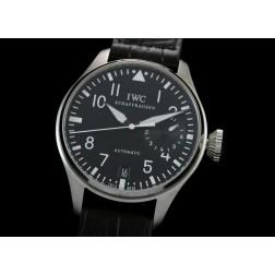 Replica IWC Big Pilot Chronograph Watch Black Dial 46mm Black Leather Strap Swiss Movement SIW029