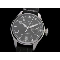 Replica IWC Big Pilot Chronograph Watch Grey Dial 46mm Black Leather Strap Swiss Movement SIW030