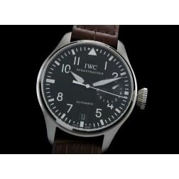Replica IWC Big Pilot Chronograph Watch Black Dial Brown Leather Strap Swiss Movement SIW032