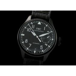 Replica IWC Big Pilot Men Watch Black Dial PVD Case Black Leather Strap Swiss Movement SIW033