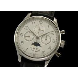 Replica IWC Schaffhausen Chronograph Watch Moonphase White Dial 43mm Swiss Movement SIW035