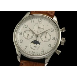 Replica IWC Schaffhausen Chronograph Watch Moonphase White Dial Brown Leather Strap SIW036