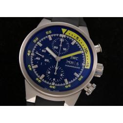 Replica IWC Aquatimer Cousteau Divers Chronograph Watch Black Dial 44mm Black Rubber Strap SIW037