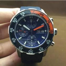 Best Swiss Made IWC Aquatimer Watch 44mm Silver Case Blue Dial Blue Orange Bezel SIW101