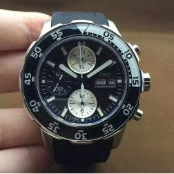 Best Replica Swiss IWC Aquatimer Watch 44mm Silver Case Black Dial Black White Bezel SIW102